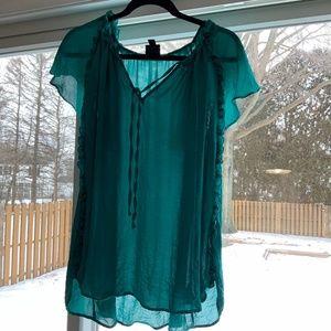 Cayman green lightweight silky blouse